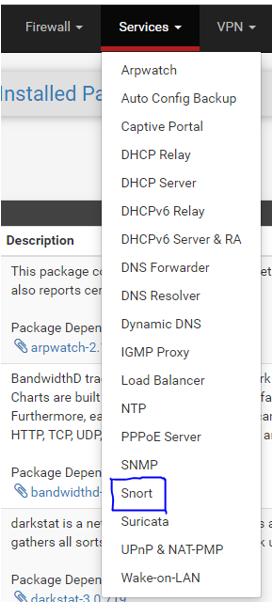 En el paso 2, accedemos al menú de Snort en nuestra interfaz web de pfsense.