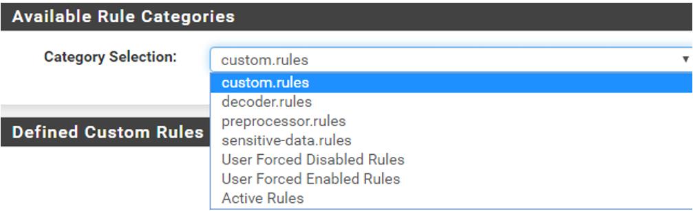 Paso 4 del proceso de instalación de Snort en pfsense: introducimos reglas personalizadas.