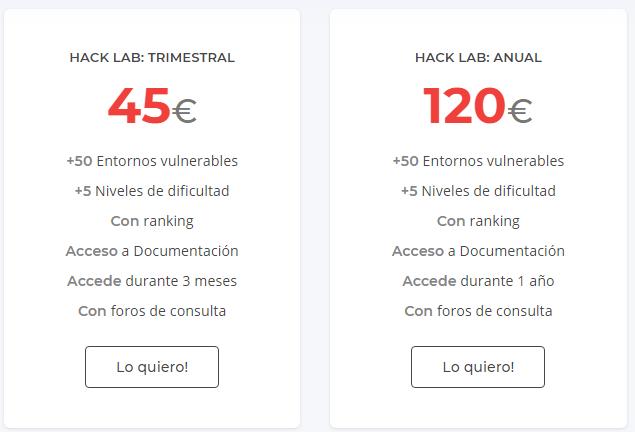 Planes trimestrales y anuales de nuestro Hack Lab, la plataforma online con más de 40 entornos vulnerables de Pentesting, Hacking y ciberseguridad.